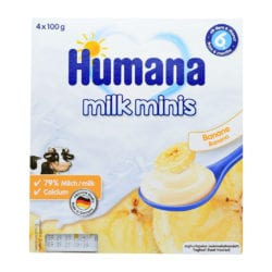 front view of bannana milk minis package